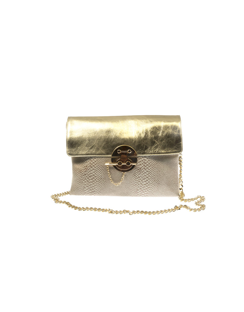 GOLD LEATHER SHOULDER BAG IL 16 1