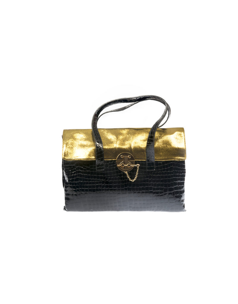 BLACK FAUX CROCODILE LEATHER BAG